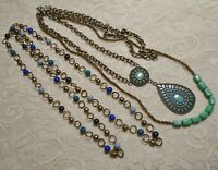 BLUE & GREEN BEADED BRONZE TONE PENDANT BOHO NECKLACE LOT