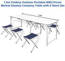 1.8m Folding Outdoor Portable BBQ Picnic Market Display Camping Table Stool Set