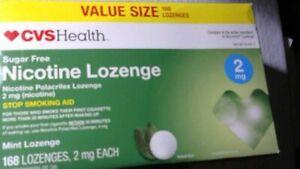 CVS Health Sugar Free Nicotine Lozenge 2 mg 168 Pieces Mint, Read Date Desc