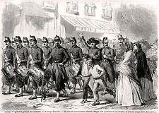Cremona: Quartier generale del 2° Corpo d'Armata.Risorgimento.Stampa Antica.1866