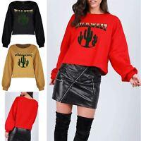 Womens Batwing Sleeve Wild West Pullover Sweatshirt Baggy Ladies Fleece Crop Top
