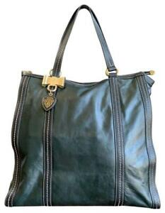 Authentic GUCCI Dark Olive Green Leather Duchessa Large Tote Handgag 181491