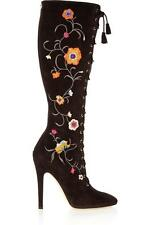 Jimmy Choo Colorado Long Boots sz 37   7 Embroidered Flowers Shoes New OTK Knee