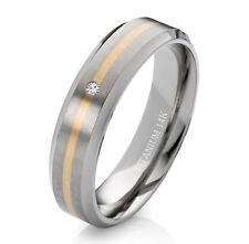 Verlobungsring Trauring aus Titan und 585 Gold mit Diamant und Lasergravur T172B
