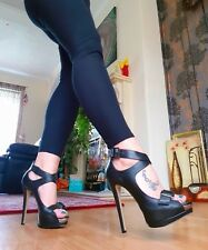 New River island black super high fetish heels with buckles uk7