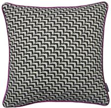 FILLED WOOL BLEND KNITTED PINK BLACK WHITE FAUX SILK CUSHION 45.7cm - 45CM ONOM
