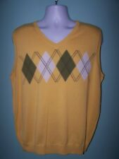HAGGAR Mens Yellow Sleveless V Neck Thin Sweater Size L (NWOT)