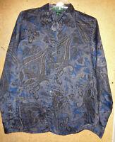 Ralph Lauren Blue Black Paisley Print Large Button Up Long Sleeve Cotton Shirt