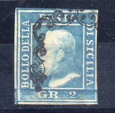 ANTICHI STATI 1859 SICILIA 2 GR. AZZURRO D/9928