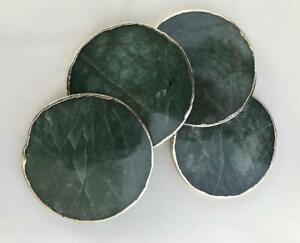 Home Decor Sage Green Agate Hand Rounded Coasters Set of 4 Large Coasters