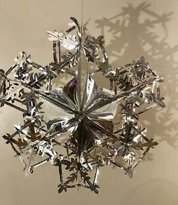 """Vintage Silver Foil Fold Out Snowflake Hanging Winter Christmas Decoration 20"""""""