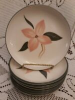 Set of 7 Winfield Ware Pink Floral BREAD PLATES Green Rims Santa Monica Calif