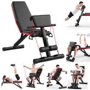 Banc de Musculation Pliable Appareil de Fitness Abdominaux Dorsaux Exercices FR