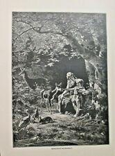 MOTHER & CHILD, Feeding The Deer, Rabbits, Genevieve De Brabant, 1892 Art Print