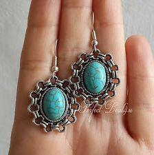 Tibetan Silver Filigree Turquoise Oval Earrings 925 sterling silver hooks