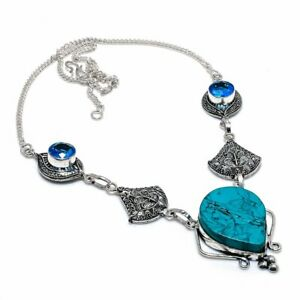 """Santa Rosa Turquoise, Blue Topaz 925 Sterling Silver Jewelry Necklace 18"""" O568"""