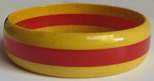 VINTAGE YELLOW TRANSLUCENT & BRIGHT RED LAMINATED BAKELITE BANGLE BRACELET