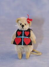 "DEB CANHAM ""KNAVE OF HEARTS"" MINIATURE MOHAIR MOUSE IN HEART TABARD AND RED SILK"