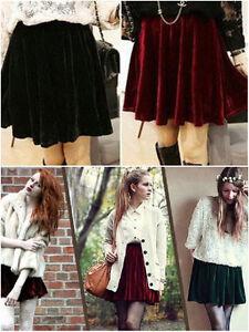 Vintage High Waisted Velvet Skater Pleated A-line Short Elasticized Soft Skirt