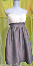 MAX AND CLEO Brown And Ivory Dress A-Line pleated skirt speghetti strap SZ 8