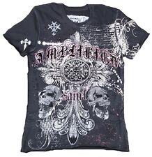 Amplified PEARL SKULL Gothic Cross Rock Star Strass Kreuz ViP T-Shirt g.M 48/50