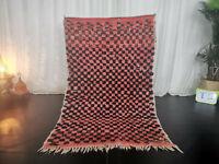 Moroccan Handmade Vintage Tribal Rug 3'6x5'6 Checkered Berber Red Black Wool Rug