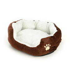 Pet Dog Puppy Soft Fleece Bed Kennel Cozy Nest Medium Washable Coffee