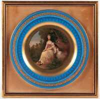 ROYAL VIENNA PORTRAIT FRAMED CABINET PLATE SIGNED GAINSBOROUGH