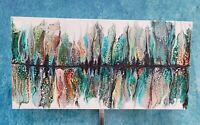 "Painting Acrylic Abstract Original Fluid Art on Canvas 12"" X 24"" Home Decor Wall"