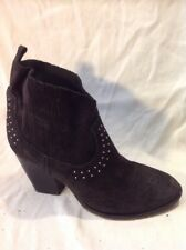 Pied A Terre Black Ankle Suede Boots Size 38