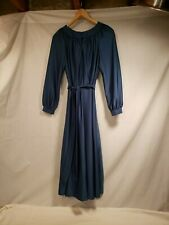 "Vintage Blue Ladies Dress, Long Sleeve Flowing Dress, Button Sleeves, 13"" Waist"