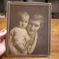 Vtg Antique Early 1900s Mother & Baby Child Sepia Cabinet Photograph Portrait