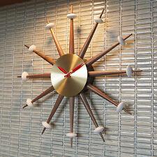 MODERN STARBURST WALL CLOCK - VINTAGE SPUTNIK EAMES ERA 1950s STYLE WALNUT BRASS