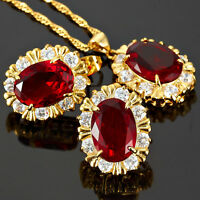 Red Ruby Oval Cut Necklace Pendant Earrings Gemstone 18K Gold Plated Jewelry Set