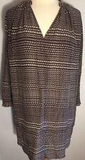 Ulla Johnson SZ 8 Taupe Multi Color Print Silk Dress Tunic