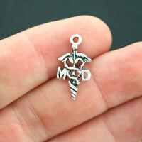 30pcs Antique Silver Tone Caduceus Medical Symbol Charms Pendants Beads 24*12mm
