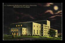 US LINEN POSTCARD NIGHT SCENE OF BOB JONES UNIVERSITY GREENVILLE SOUTH CAROLINA