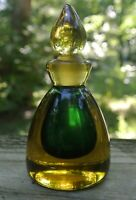 """Vintage Murano Sommerso Art Glass Perfume Bottle in Green and Yellow 3-7/8"""""""
