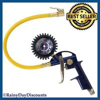 Tire Inflator Gun For Air Compressor Locking Chuck 2in Gauge 1/4 NPT With Hose