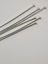 100 Head pins Silver plated thin soft 0.6 mm thick 50mm  top quality findings