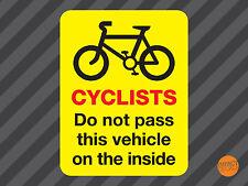 CYCLISTS DO NOT PASS STICKER / Cyclists warning van sticker 300x230mm