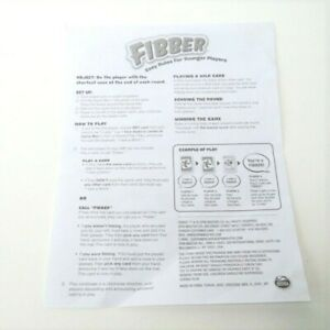Fibber Board Game Instruction Sheet Replacement
