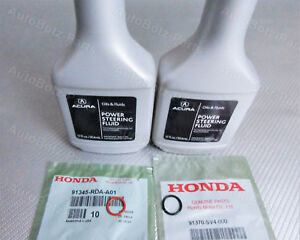OEM GENUINE Acura Power Steering Pump Oil O-Ring Seals & Fluid - 4 pc Reseal Kit