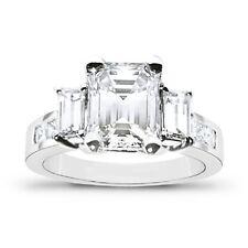 1.77 Ct. 3 Stone Emerald Cut & Princess Diamond Engagement Ring 14K D,VS2 EGL
