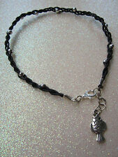 Handmade Real Braided Black Leather Beaded Anklets (send me your size)
