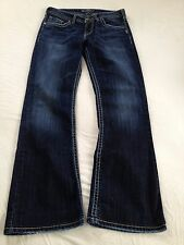 Silver Jeans Women's Natsuki Mid Rise Boot Cut Dark Blue Jeans Size 28 Inseam 29