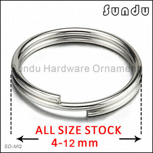 4-12mm opening spring key ring stainless steel silver10-1000pcs