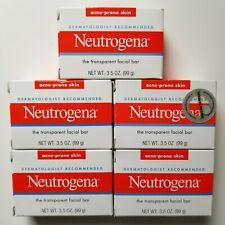 5 Neutrogena Soap The Transparent Facial Bar Acne Prone Skin Formula 3.5 oz Each