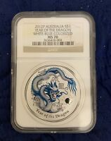 2012P Australia S$1 Year of the Dragon Colorized White-Blue 1oz Silver NGC MS70