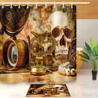 Pirate Treasure Gothic Skull Waterproof Fabric Bathroom Shower Curtain Hooks Set